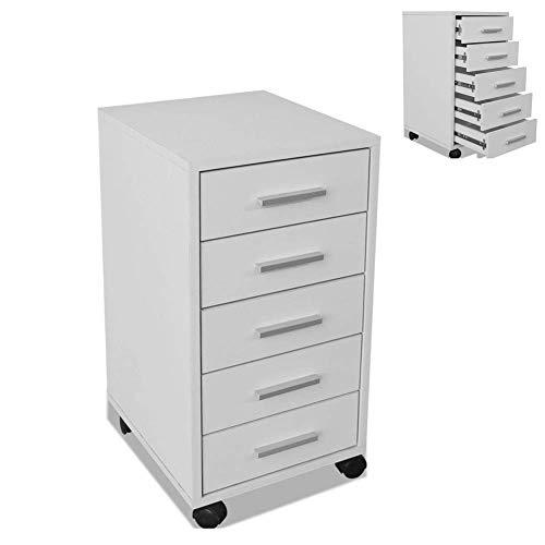 Dioche Rollcontainer Bürocontainer Rollschrank auf Rollen 5 Schubladen weiß Schubladenschrank Schubladengriffe aus Aluminium mit 4 Rollen 2 Bremsen33 x 38 x 63 cm