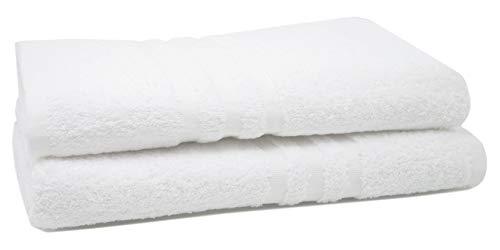 ZOLLNER 2er Set Duschtücher, 70x140 cm, 100% Baumwolle, 550g/qm, weiß