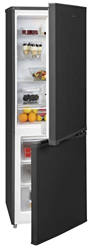 Exquisit Kühl- und Gefrierkombination KGC 310/90-9 A++GMS | Standgerät | 300 L Nutzinhalt | glas-mattschwarz