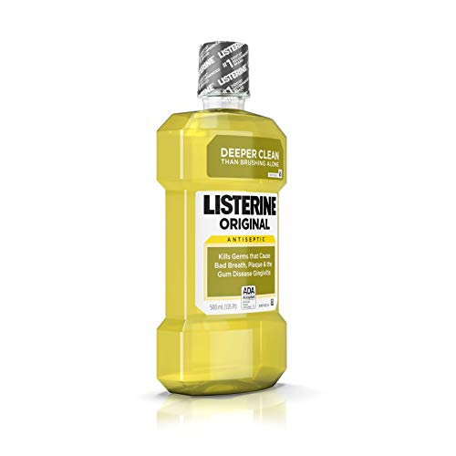 Listerine Original Oral Care Antiseptic Mouthwash with Germ-Killing Formula to Fight Bad Breath, Plaque and Gingivitis, 500 mL (Pack of 4)