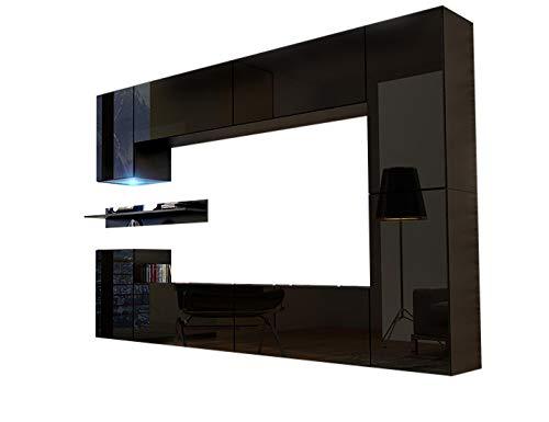 HomeDirectLTD Future 13 Moderne Wohnwand, Exklusive Mediamöbel, TV-Schrank, Neue Garnitur, Große Farbauswahl (RGB LED-Beleuchtung Verfügbar) (Schwarz MAT Base/Schwarz HG Front, Blau LED)