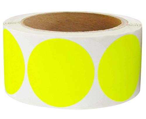2 Inch Round Color-Code Dot Labels | Fluorescent Yellow Color Coding Colored Labels | 500 Permanent Adhesive Colored Circle Stickers Per Roll for Moving/Storage/Organizing/Color Coding/Arts (Yellow)