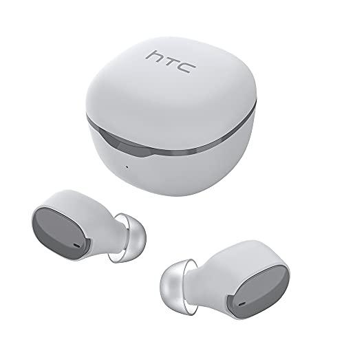HTC Audífonos Inalámbricos,Bluetooth 5.0 True Wireless IN-Ear Earbuds con micrófono Incorporado, Control táctil, Auriculares Premium con Graves Profundos para Llamadas, Oficina, Deporte (Blanco)