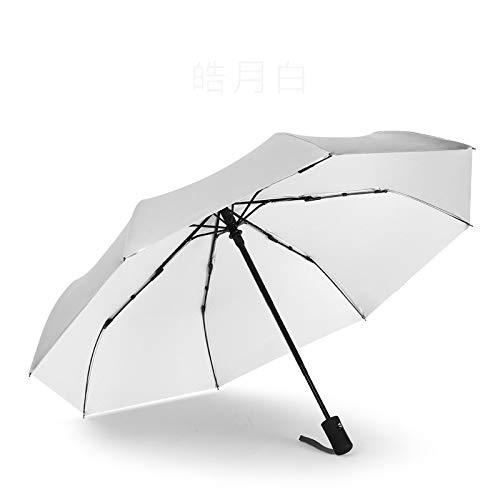 GQDP Regenschirm Automatischer Regenschirm faltbar für Damen und Herren Sonnenschirm dreifach faltbar schwarz Kunststoff Regenschirm Beige beige 21in