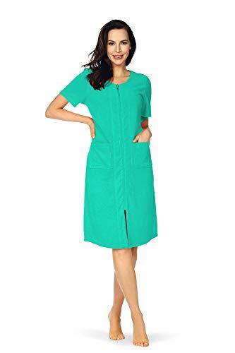 Comtessa dames strandjurk huisjurk badstof jurk korte mouwen ritssluiting katoen turquoise