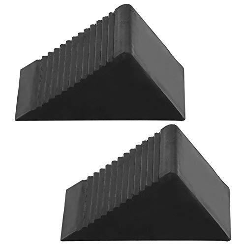 Calzos para llantas, negro 12.5x7.5x6CM Calzos de goma para ruedas, resistentes para remolques de automóviles