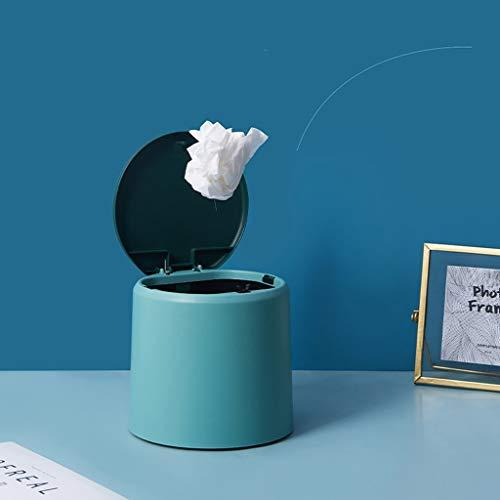 zunruishop Cubos de Basura Plástico de Escritorio Mini Bote de Basura con Tapa, Apta for Tocador, Lavabo, Baño, Cocina, Coches, Dormitorio de Escritorio de Oficina Bote de Basura (Color : Green)
