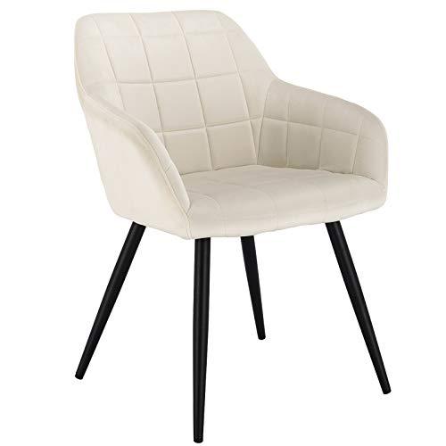 WOLTU® Esszimmerstuhl BH93cm-1 1 Stück Küchenstuhl Polsterstuhl Wohnzimmerstuhl Sessel mit Armlehne, Sitzfläche aus Samt, Metallbeine, Cremeweiß