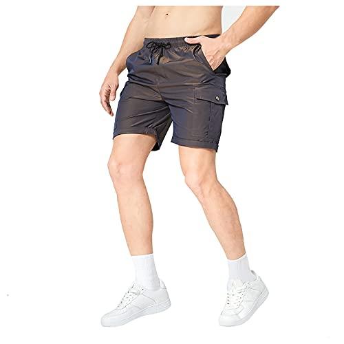 QUNLING Pantalones vaqueros cortos de mujer Curling, elásticos, de cintura alta para mujer, con dobladillo doblado, Mujer, morado, small