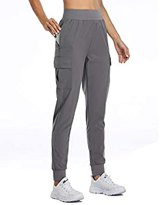 Willit Women's Lounge Joggers Cargo Hiking Pants Quick Dry Athletic Workout Pants Clothes Drawstring Pockets Gray XL