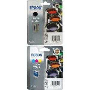 Epson Inkjet T040 T041 und C62 CX3200 Tintenpatronen-Doppelpack, für Photo Stylus Drucker, Schwarz/ Cyan Magenta Gelb