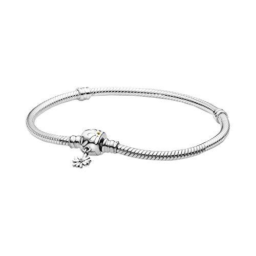 Pandora Verspieltes Gänseblümchen-Verschluss Schlangen-Gliederarmband, 16 cm, Silber