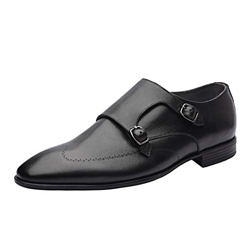 Allonsi Melvin| Luxury Genuine Leather Shoe | Men's Wingtip Monk Strap Dress Shoes | Handcrafted Formal Monk Straps | Lightweight TPR Sole | Black | US 12
