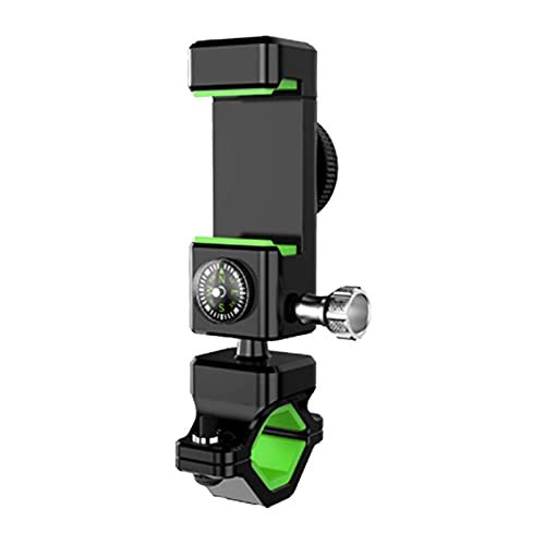 Bike Phone Mount with Shockproof Silicone Pad 360° Rotation Anti-theft Universal Bicycle Motorcycle Handlebar Holder for Phone 11 Pro Max S9 4.7' - 6.8' Cellphone Spin Lock Compass Rear LED Light