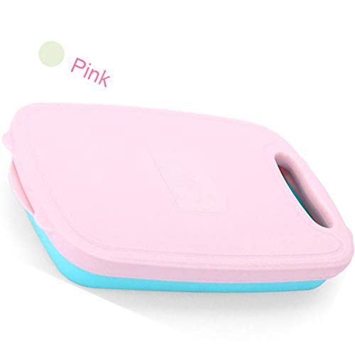 YLCCC Collapsible Cutting Board,Kitchen Portable Drainer Basket, Slicer Cutter 9 in 1 Vegetable Clever Cutter- Washing Space,Pink