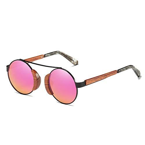Kaper Go Gafas de sol con protección UV 400, unisex, revestimiento retro, marco de madera, lentes de resina, luz polarizadas, alta definición, visual, fuerte impacto, rosa (color: rosa)