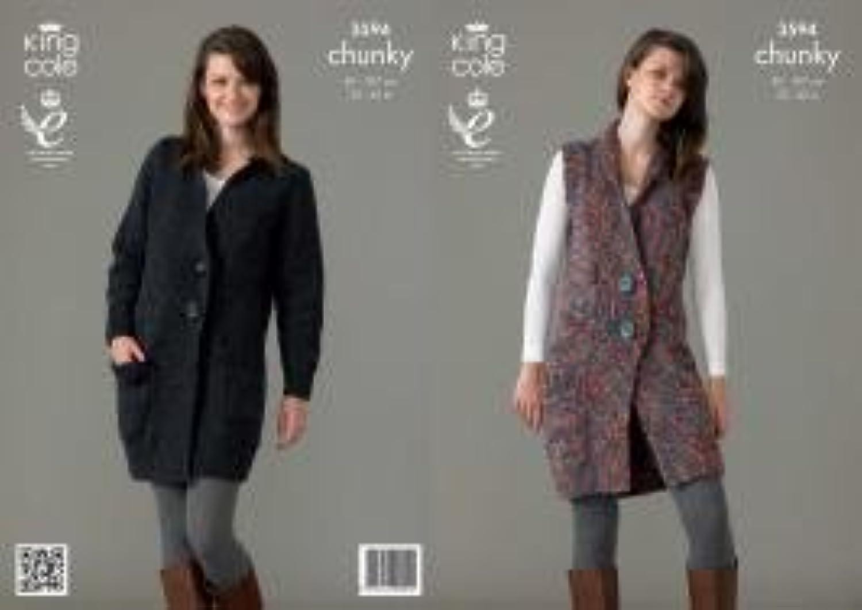 Patterns - KC3594 - - - Jacket and Waistcoat Knitting Pattern K C 3594 B00HNBATLY | Mangelware  9ab5d7