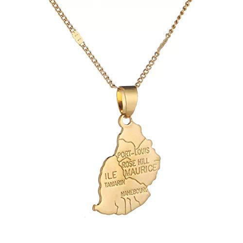 WDBUN Collar Colgante Collar con Colgante de Mapa de Color Dorado, joyería de Cadena de Mapa de Mauricio Navidad Día de la Madre Día de San Valentín cumpleaños Regalo