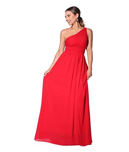 KRISP Vestido Mujer Fiesta Largo Talla Grande Hombro Descubierto Invitada Boda Dama, Rojo (4814), 38 EU (10 UK), 4814-RED-10