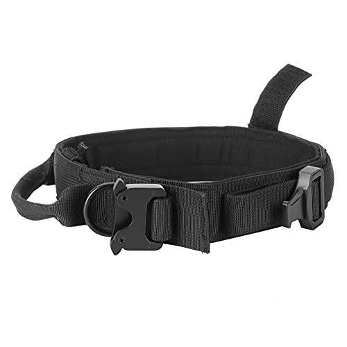 Restokki Collar y Correa tácticos para Perros Entrenamiento de Nailon Collar de tracción de Caza con Hebilla de Acero Accesorios para Mascotas Adecuado para Perros pequeños y medianos(Negro)