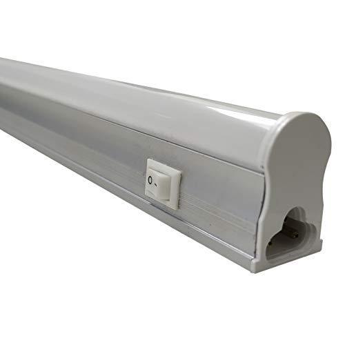 Tubo LED integrado Para Luz Indirecta con interruptor. T5 30cm, 4W. Color Blanco Frio (6500k). Idoneo para Muebles de Cocina, armarios. 400 lumenes. Con cable de enchufe 50cm. A++