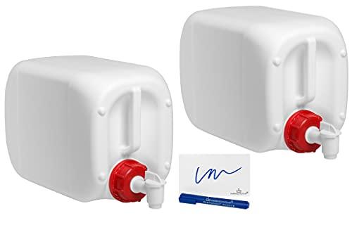 MARKESYSTEM - Garrafa bidón plástico HPDE (10 Litros) PACK 2 Uds + Grifos + Kit Etiquetado - Rosca boca ancha - Homologada ADR - Apilable. Apta uso alimentario. Ideal como depósito líquidos y químicos