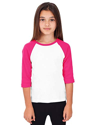 Hat and Beyond Kids Raglan Jersey Child Toddler Youth Uniforms 3/4 Sleeves T Shirts (X-Small (2-3 Years), (Kid) 5bh03_White/Pink