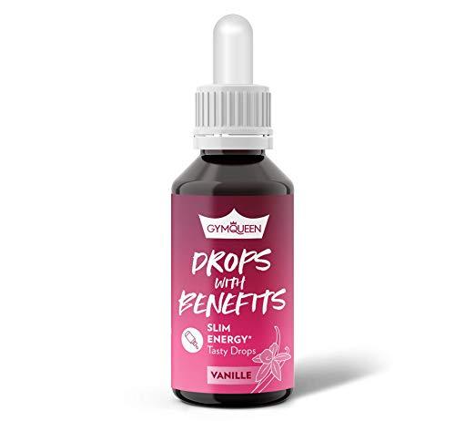 GymQueen Drops with Benefits Slim Energy Vanille 30ml, Tasty Drops mit Vitaminen und Extrakten aus Guarana und Pfeffer, Aroma Tropfen mit Energy-Boost, Kalorienfrei, Zuckerfrei und Fettfrei