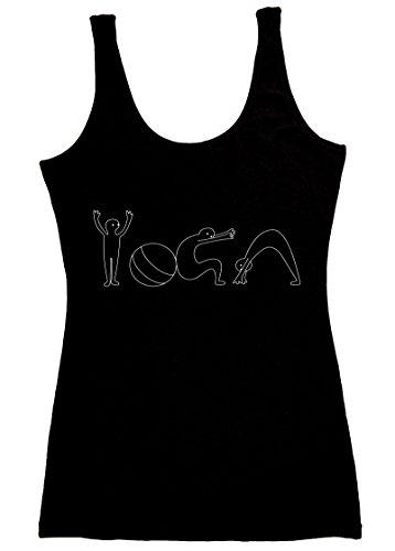 TREELANCE Bio-Baumwolle Yoga Workout Tank Top Spirituell Moon Shirts Tops Tees für Frauen - Schwarz - X-Groß