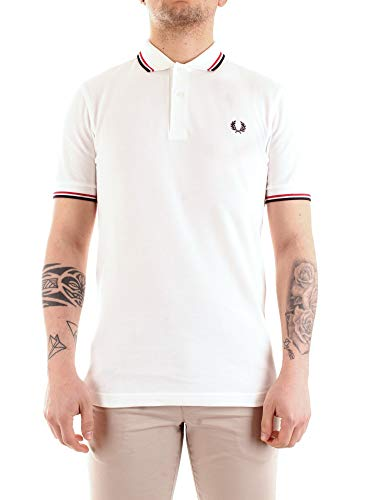 Fred Perry Twin Tipped Shirt, Polo Uomo, Bianco (White/Brightred/Navy), X-Small