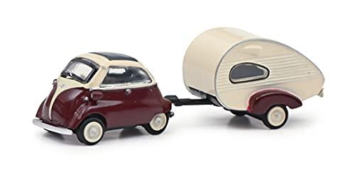 Schuco 452648600 BMW Isetta mit Anhänger, mit ES-Piccolo-Wohnwagen, Modellauto, Maßstab 1:87