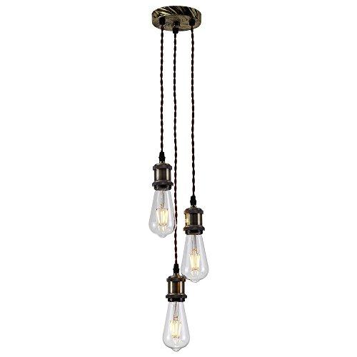HJXDtech Rretro antiguo Edison luz colgante de latón macizo luz Socket 3 E27 Portalámparas cobre, Vintage Industrial Lámparas de techo