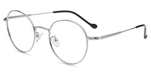 Firmoo Gafas Luz Azul para Mujer Hombre, Gafas Filtro Antifatiga Anti-luz Azul y contra UV400 Ordenador Gaming PC de Gafas Montura de Metal Moda, S968 Plata