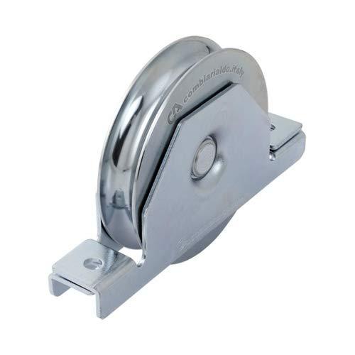 Polea para encastrar diametro 80mm, puerta correderas, rueda canal U 16 mm, en acero cincado