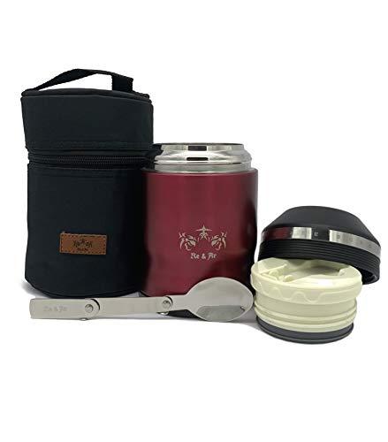 Re & Ar Thermobehälter für Essen - 500ml - Auslaufsicher, BPA-Frei - Food Container, Thermo Essensbehälter für Babynahrung, Isolierbehälter, Thermo Lunchbox Edelstahl, Warmhaltebehälter für Speisen