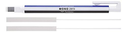 Tombow Goma de borrar de precisión EH-KUS Mono zero, recargable, punta cuadrada, 2,5 mm x 5 mm, color blanco, azul y negro + 2 gomas de borrar de recambio