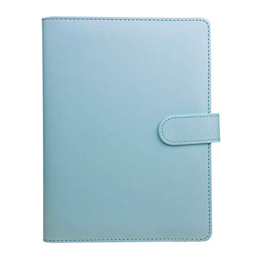 A6 PU Leder Notizbuch Binder nachfüllbar Binder Cover Notebook Persönlicher Planer Binder mit 6 runden Ring und Schnallenverschluss für A6 Füllpapier blau