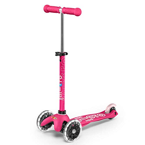 Micro Kickboard  Mini Deluxe LED 3Wheeled LeantoSteer SwissDesigned Micro Scooter for Preschool Kids with LED Lightup Wheels Ages 25  Pink