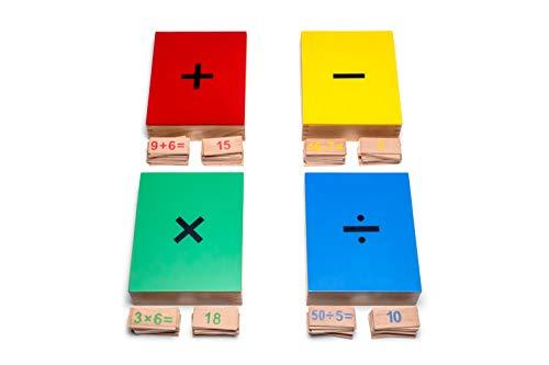 Natureich matemáticas Juguetes Montessori para 1x1 multiplicación, división, Suma, resta, aritmética, multiplicación para Alumnos de Primaria 4 Cajas con Tarjetas de aritmética