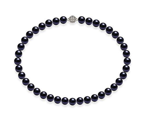 Schmuckwilli Damen Muschelkernperlen Perlenkette Dunkel Blau Magnetverschluß echte Muschel 45cm dmk1011-45 (10mm)