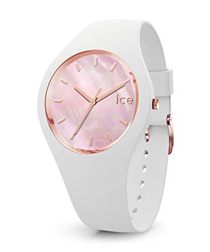 Ice-Watch - ICE pearl White pink - Weiße Damenuhr mit Silikonarmband - 016939 (Small)