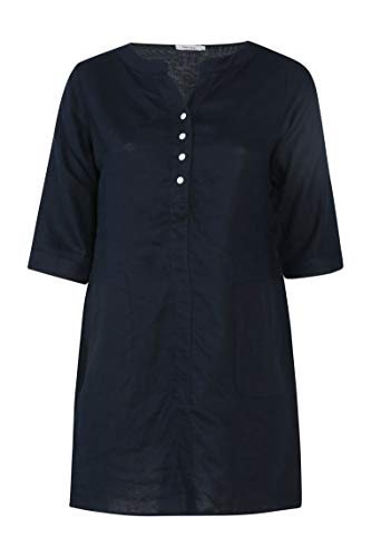 PAPRIKA Damen große Größen Tunika-Kleid aus Leinen Maokragen 3/4 Ärmel