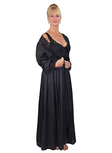 Shadowline Silhouette Long Lace Nightgown and Robe Set, Black, Medium