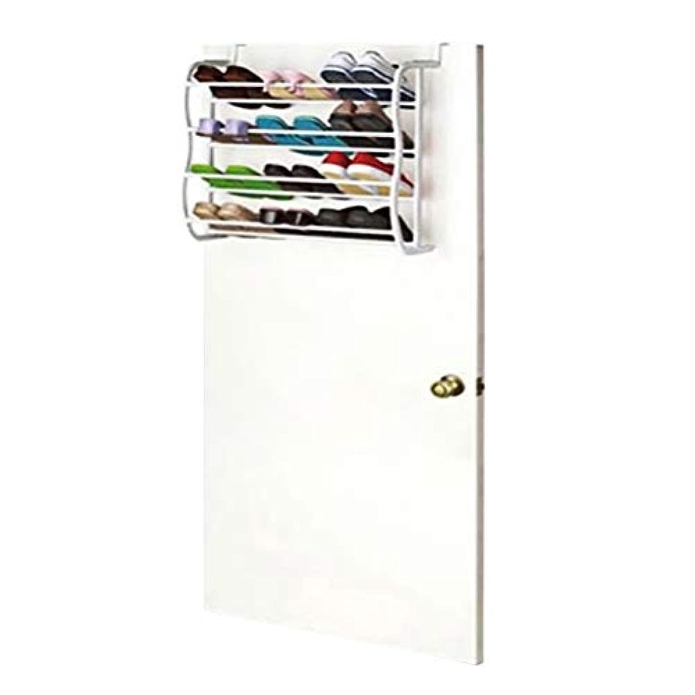 TOPBATHY Over Door Hanging Shoe Rack Slippers Hanging Shelf for Entryway Door Bathroom Shower Room Shoe Organizer White