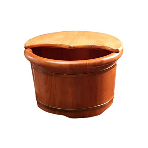 Purchase Solid Wood Natural Wood Foot Soaking Bucket Durable Foot Basin with Lid Massage Cedar Pedic...