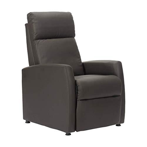 SIME - Sillón Relax reclinar de Forma Manual Presión Cuerpo Lara-B-ECBRO Brown del Cuero del Estilo
