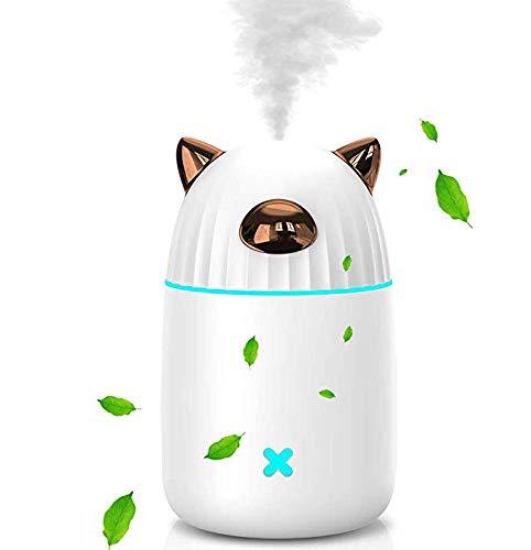 HRYBD Mini-luchtbevochtiger, draagbaar, 350 ml, luchtbevochtiger, stille luchtreiniger voor slaapkamer, kantoor en auto