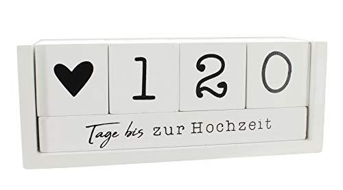 MIK Funshopping Countdown Kalender Würfel aus Holz mit Themenleiste Dauer-Jahres-Tisch-Kalender (Weiß)