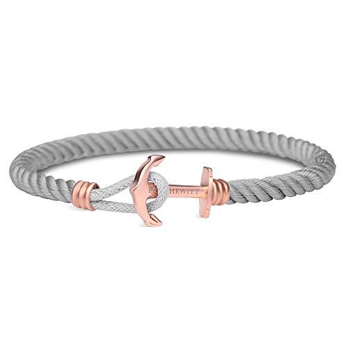 PAUL HEWITT Anker Armband Nylon PHREP Lite - Nylon Armband Frauen (Grau), Armband Damen mit Anker Schmuck aus IP-Edelstahl (Rosegold)