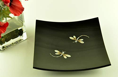 H045BM Assiette décorative en bois faite à la main, laquée et incrustée de coquille d'œuf, forme carrée, noire, taille moyenne, H045BM